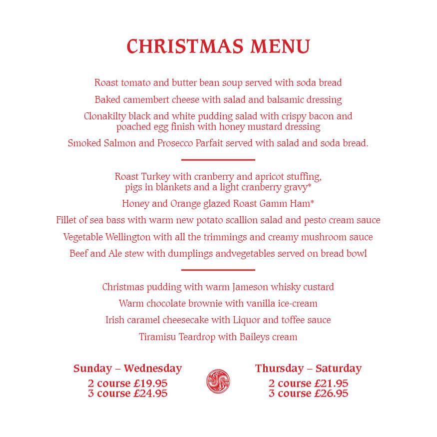 Christmas Menu.New Christmas Menu At Waxy O Connors The Printworks